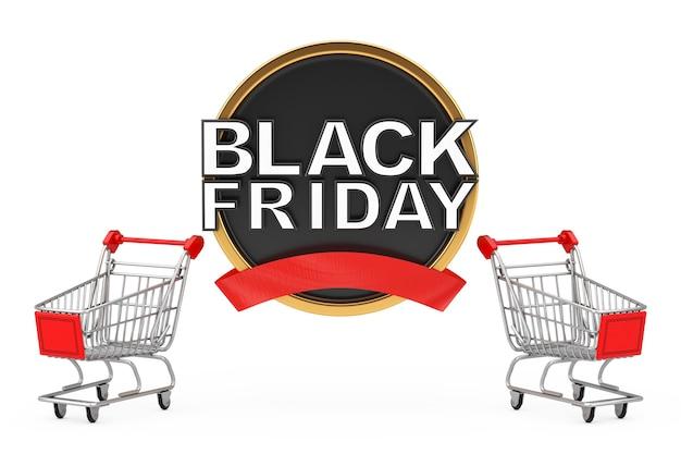 Wózek koszyk z czarnym piątek sprzedaż transparent na białym tle. renderowanie 3d