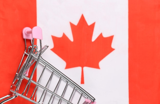 Wózek mini supermarket na niewyraźne tło flaga kanady. koncepcja zakupów.