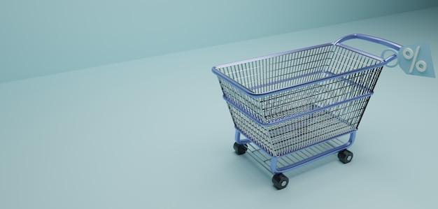 Wózek na zakupy lub w supermarkecie ze znakiem ze zniżką w niebieskiej powierzchni