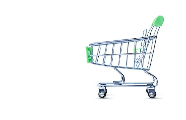 Wózek na zakupy na na białym tle