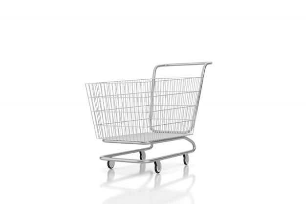 Wózek na zakupy odizolowywający na białym tle