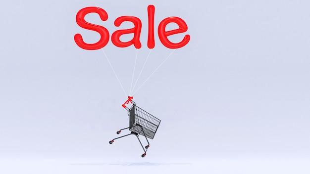 Wózek na zakupy unoszący się ze złotymi balonami z napisem sprzedaż na białym tle