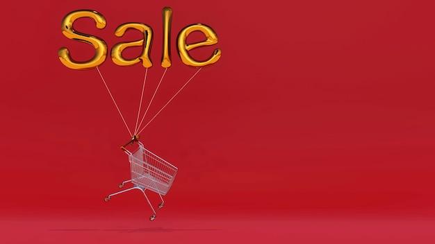 Wózek na zakupy unoszący się ze złotymi balonami z napisem sprzedaż na czerwonym tle z miejscem na kopię