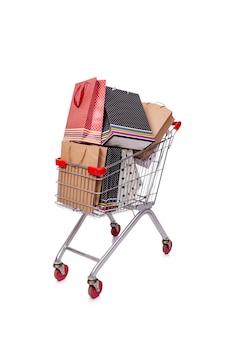 Wózek na zakupy wózek na białym tle