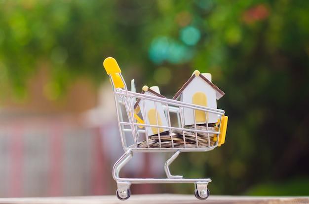 Wózek na zakupy z monetami, domem, samochodem dla handlu detalicznego. wykorzystanie obrazu na zakupy online, miejsce marketingu na całym świecie, koncepcja biznesowa.