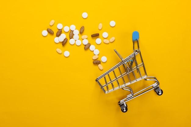 Wózek na zakupy z pigułkami na żółto