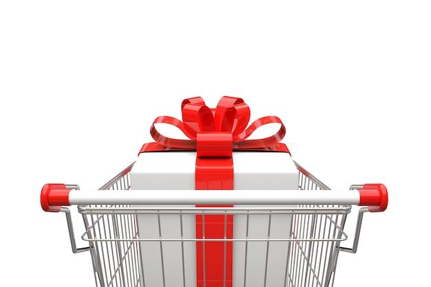 Wózek na zakupy z prezenta pudełkiem na białym tle