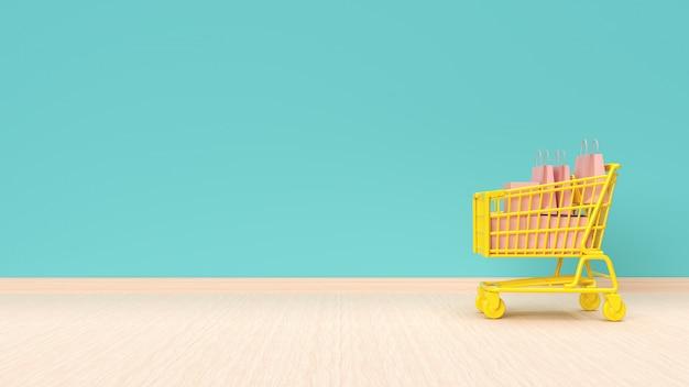 Wózek na zakupy z torbami na mennicy zieleni ściany tle