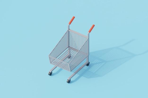Wózek przechowuje pojedynczy izolowany obiekt. renderowanie 3d