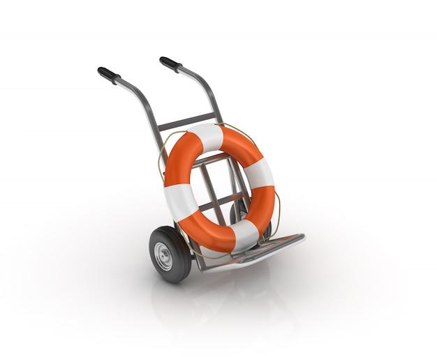 Wózek ręczny z pasem ratunkowym