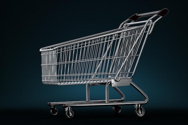 Wózek sklepowy. ilustracja 3d. zawiera ścieżkę przycinającą