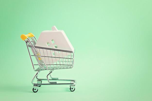 Wózek sklepowy z miniaturowym wężem w środku. kupno domu, kredyt bankowy, koncepcja agencji nieruchomości