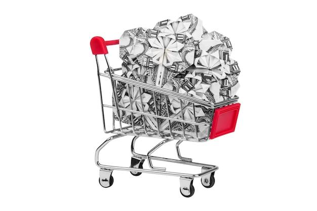 Wózek spożywczy pełen pieniędzy, serce origami
