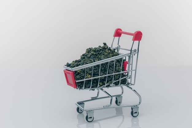 Wózek supermarketowy marihuana marihuana medyczna cbd.