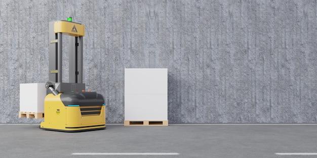 Wózek widłowy agv do transportu po betonowej ścianie i podłodze.