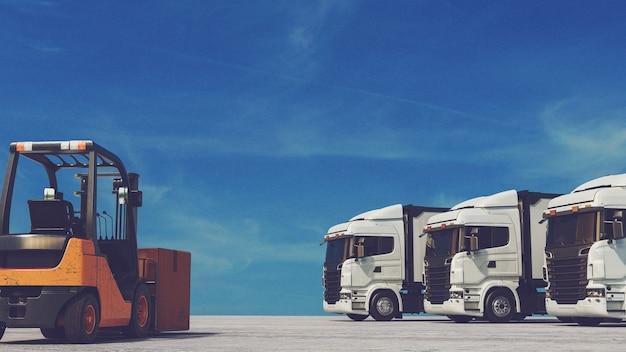 Wózek widłowy i ciężarówka tło to niebo. renderowanie 3d i ilustracja.