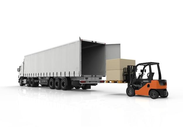 Wózek widłowy i ciężarówka