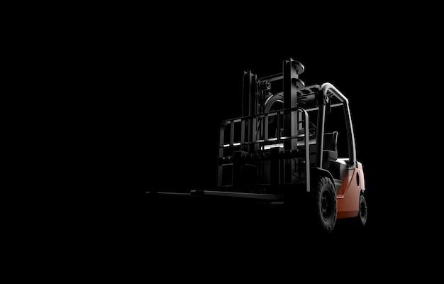 Wózek widłowy na czarnym tle