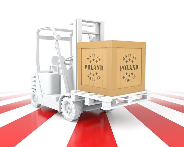Wózek widłowy z kolorem flagi polski. wyprodukowane w polsce. renderowanie 3d
