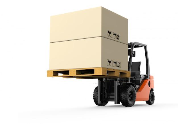 Wózek widłowy z pudełkami
