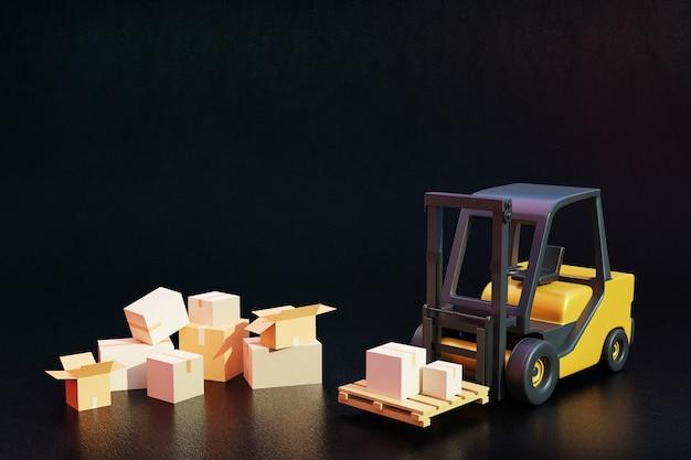 Wózek widłowy ze skrzyniami ładunkowymi na palecie do transportu. wysyłka i dostawa. renderowanie 3d.