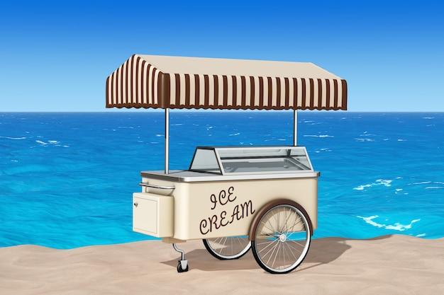 Wózek z lodami na zbliżenie skrajny piasek słoneczny brzeg. renderowanie 3d
