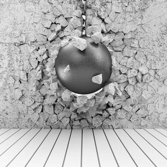 Wrecking ball broken concrete wall
