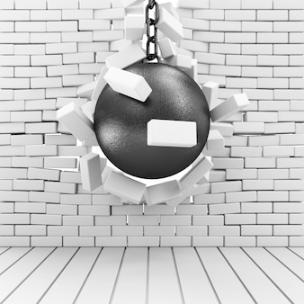 Wrecking ball zrujnował ceglany mur