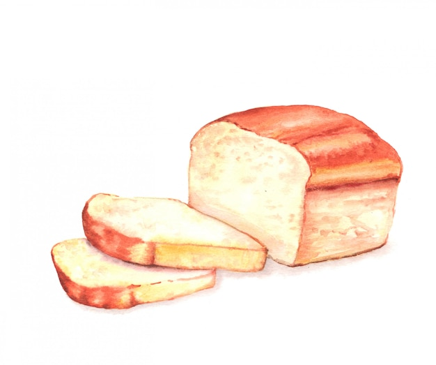 Wręcza patroszoną akwarelę ilustracja świeży smakowity pokrojony chleb.