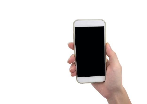 Wręcza trzymać mądrze telefon odizolowywający nad białym tłem - mockup
