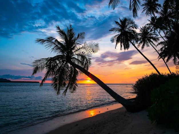 Wschód słońca dramatyczne niebo na morzu, tropikalna plaża na pustyni, indonezja wyspy banyak sumatra
