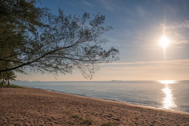 Wschód słońca na tropikalnym morzu i drzewa na plaży w zatoce tajlandzkiej
