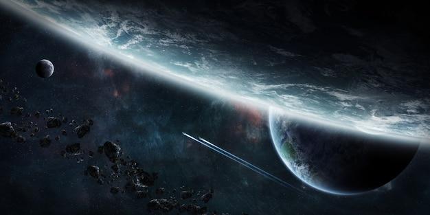 Wschód słońca nad grupą planet w przestrzeni kosmicznej