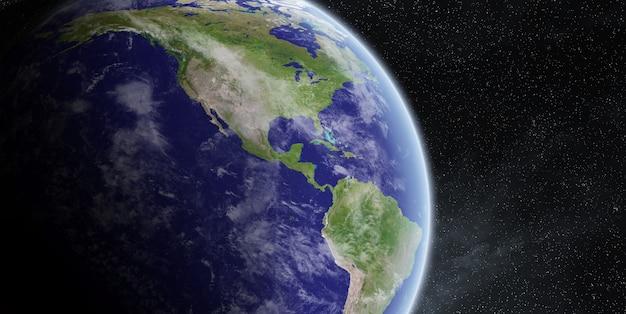 Wschód słońca nad planetą ziemią w kosmosie