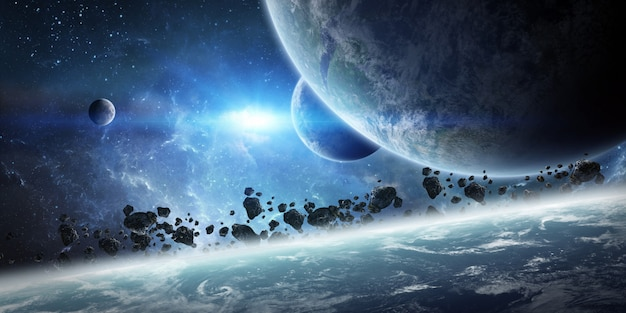 Wschód słońca nad planetą ziemia w przestrzeni