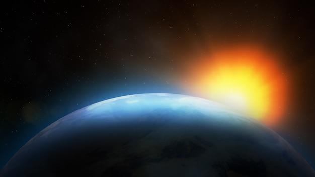 Wschód słońca nad ziemią. wyimaginowany widok planety ziemia w kosmosie z wschodzącym słońcem.