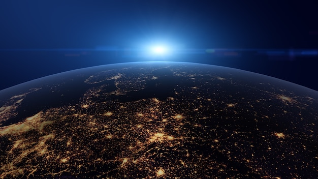 Wschód słońca, niebieskie światło, widok z kosmosu na planecie ziemia w nocy.