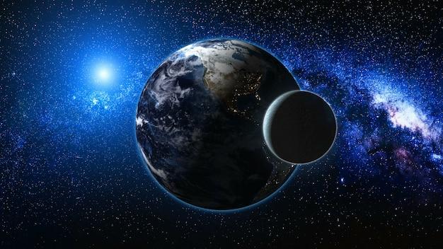 Wschód słońca widok z kosmosu na planecie ziemia i księżyc