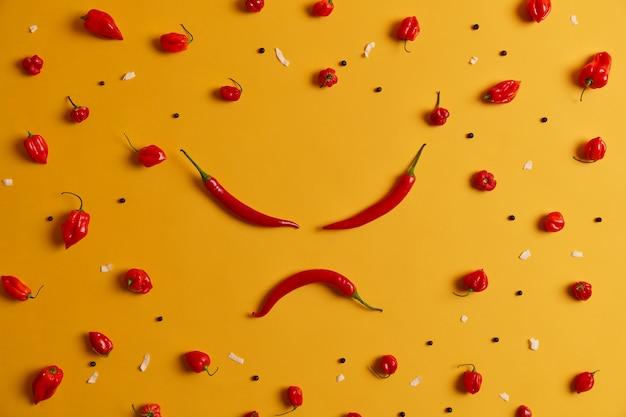 Wściekła ludzka twarz wykonana z czerwonej papryki chili, inne papryki ułożone dookoła na żółtym tle. pikantne warzywo, które może wywoływać uczucie pieczenia i powodować problemy zdrowotne, ma swój wyraźny smak