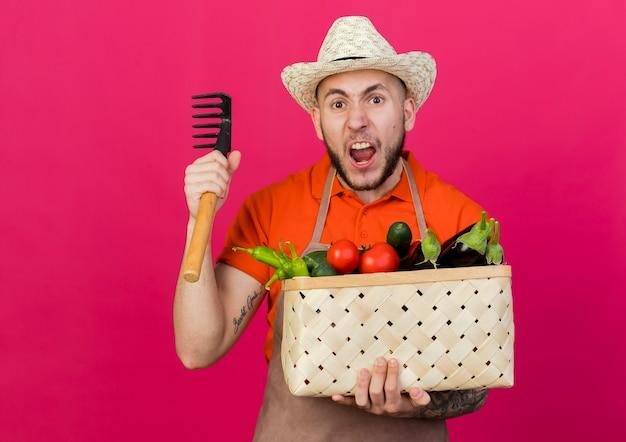 Wściekły męski ogrodnik w kapeluszu ogrodniczym trzyma kosz warzyw i grabie
