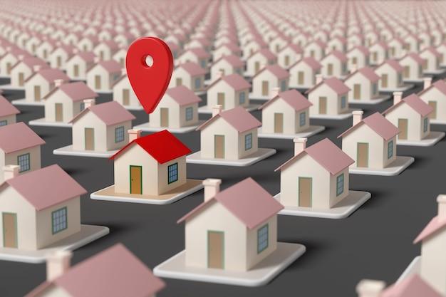 Wskaźnik na mapie nad domem wśród wielu innych domów. selektywne skupienie. pojęcie nieruchomości.
