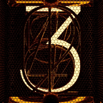 Wskaźnik nixie tuba zbliżenie, numer 3. styl retro. renderowanie 3d.