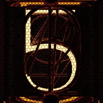 Wskaźnik nixie tuba zbliżenie, numer 5. styl retro. renderowanie 3d.