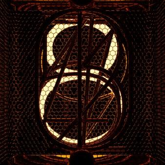 Wskaźnik nixie tuba zbliżenie, numer 8. styl retro. renderowanie 3d.