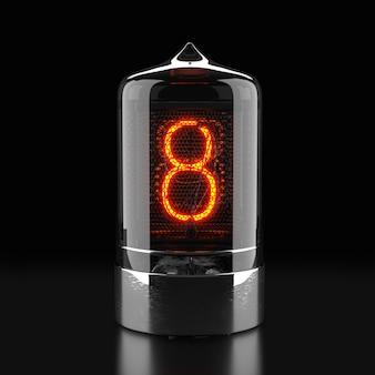 Wskaźnik rurkowy nixie, wskaźnik wyładowania lampy na ciemnej powierzchni. liczba osiem w stylu retro. renderowanie 3d.