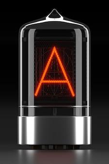 """Wskaźnik rurkowy nixie, wskaźnik wyładowania lampy na ciemnej powierzchni. litera """"a"""" w stylu retro. renderowanie 3d."""