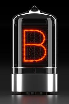"""Wskaźnik rurkowy nixie, wskaźnik wyładowania lampy na ciemnej powierzchni. litera """"b"""" w stylu retro. renderowanie 3d."""