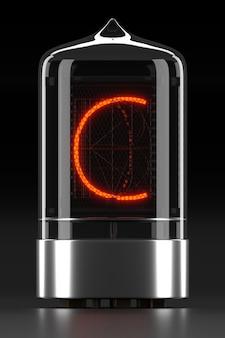 """Wskaźnik rurkowy nixie, wskaźnik wyładowania lampy na ciemnej powierzchni. litera """"c"""" w stylu retro. renderowanie 3d."""