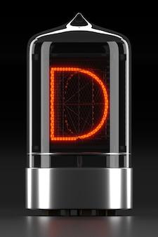 """Wskaźnik rurkowy nixie, wskaźnik wyładowania lampy na ciemnej powierzchni. litera """"d"""" w stylu retro. renderowanie 3d."""