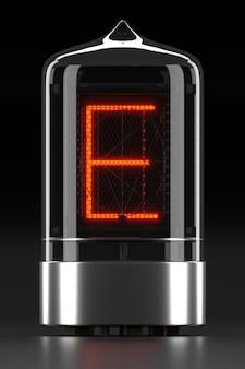 """Wskaźnik rurkowy nixie, wskaźnik wyładowania lampy na ciemnej powierzchni. litera """"e"""" w stylu retro. renderowanie 3d."""